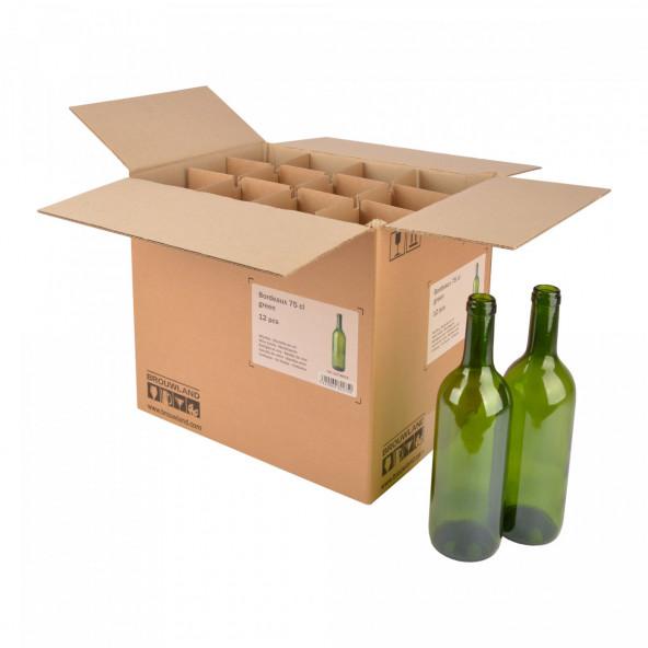 Wijnfles Bordeaux 75 cl, groen, doos 12 st.