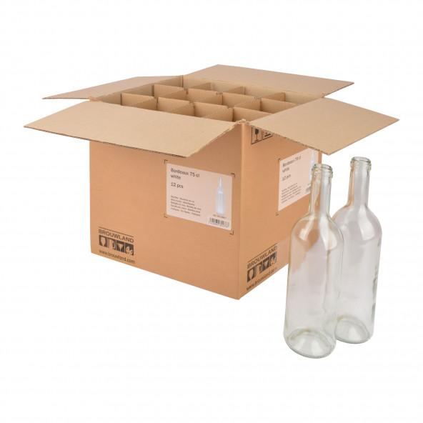 Wijnfles Bordeaux 75 cl, wit, doos 12 st.