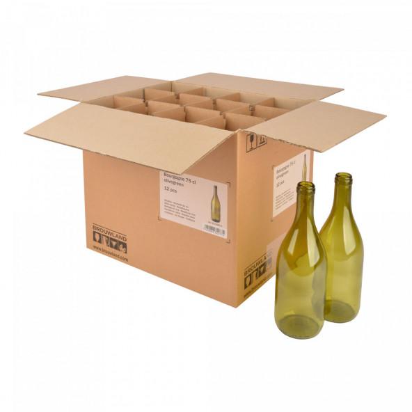 Wijnfles Bourgogne 75 cl, olijfgroen, doos 12 st.