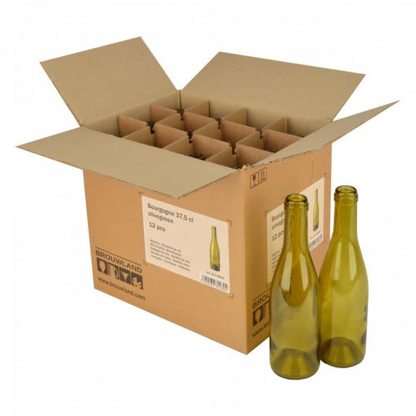 Wijnfles Bourgogne 37,5 cl, olijfgroen, doos 12 st.