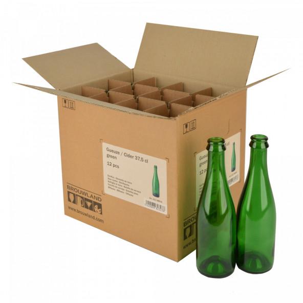 Geuze/ciderfles 37,5 cl, groen 29 mm KK, doos 12 st.