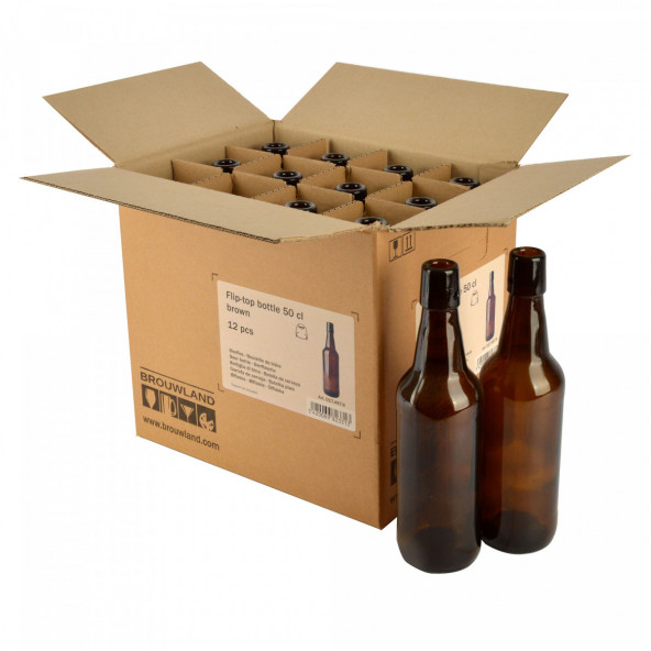 Beugelfles 50 cl bruin, zonder beugel, doos 12 st.